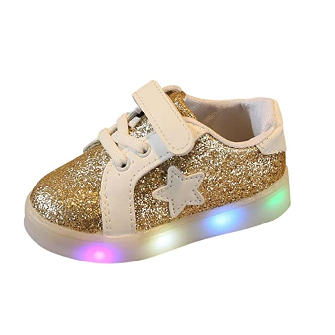 Botrong Baby Fashion Star Sneaker LED Luminous Child Toddler Casual  Colorful Light Shoes for Baby Girl b1d3e4b83f3b