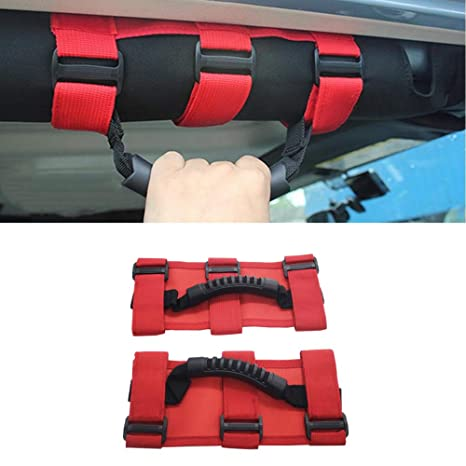 Heavy Duty Grab Handle with Adjustable Straps Easy-to-fit Durable Jeep Wrangler Accessories for Jeep Wrangler YJ TJ JK JL Sports Sahara Freedom Rubicon X Unlimited 1995-2018 Jeep Roll Bar Grab Handle