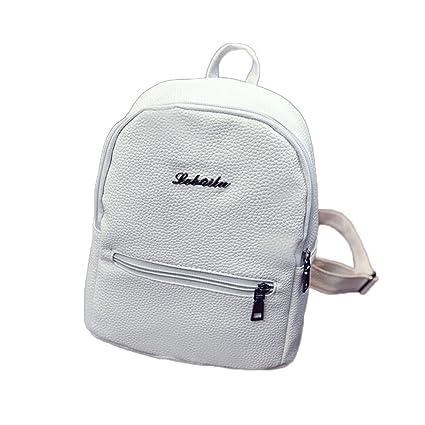 31a9cb41c58655 Amazon.com | JESPER Girls Leather School Bag Travel Backpack Satchel Women  Shoulder Rucksack White | Waist Packs