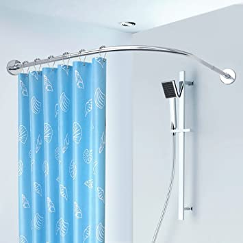 LWFB Shower Curtain Rod Stainless Steel Extendable Telescopic Free
