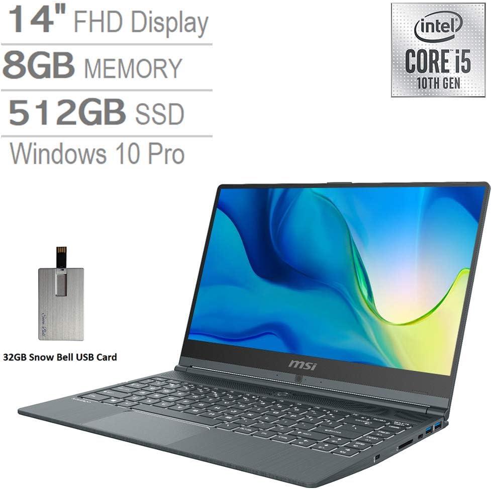 """2020 MSI Modern 14"""" FHD Laptop Computer, 10th Gen Intel Core i5-10210U, 8GB RAM, 512GB PCIe SSD, Intel UHD Graphics, Backlit Keyboard, HD Webcam, USB-C, Win 10 Pro, Gray, 32GB Snow Bell USB Card"""