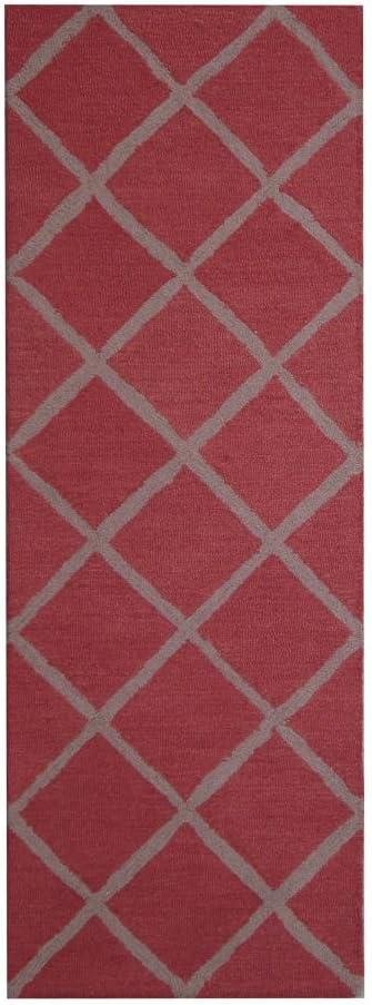Herat Oriental Indo Hand Tufted Contemporary Design Wool Area Rug Medium Red Gray Furniture Decor