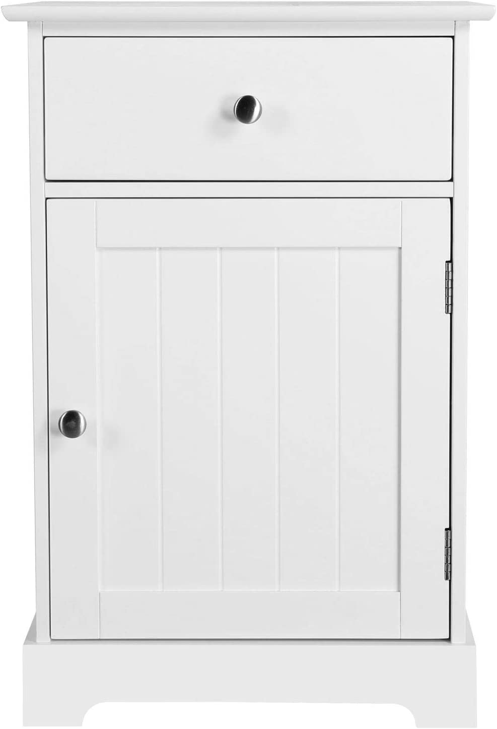 """Topeakmart White Finish Nightstand Bedside Table with 1 Drawer and 1 Door, Wooden Accent Storage Cabinet for Bedroom/Living Room, 24"""" H"""