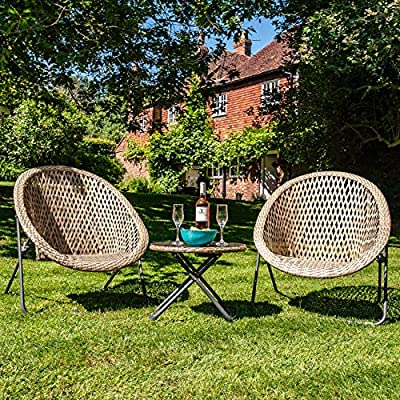 Dawsons Living Faux Rattan Patio 2 Seater Bistro Set with Glass Top Table