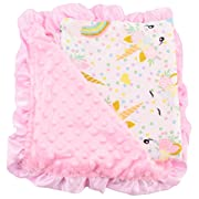 Unique Baby Minky Dot Swaddle Blanket Newborn, Unicorn Pink