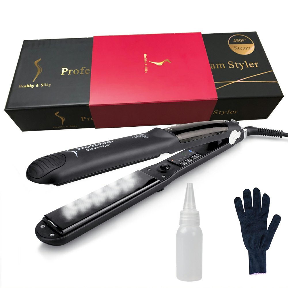 Professional 450F Ceramic Vapor Steam Hair Straightener with Argan Oil Infusion Steam Flat Iron Ceramic Vapor Fast Heating Iron (Color:Black)
