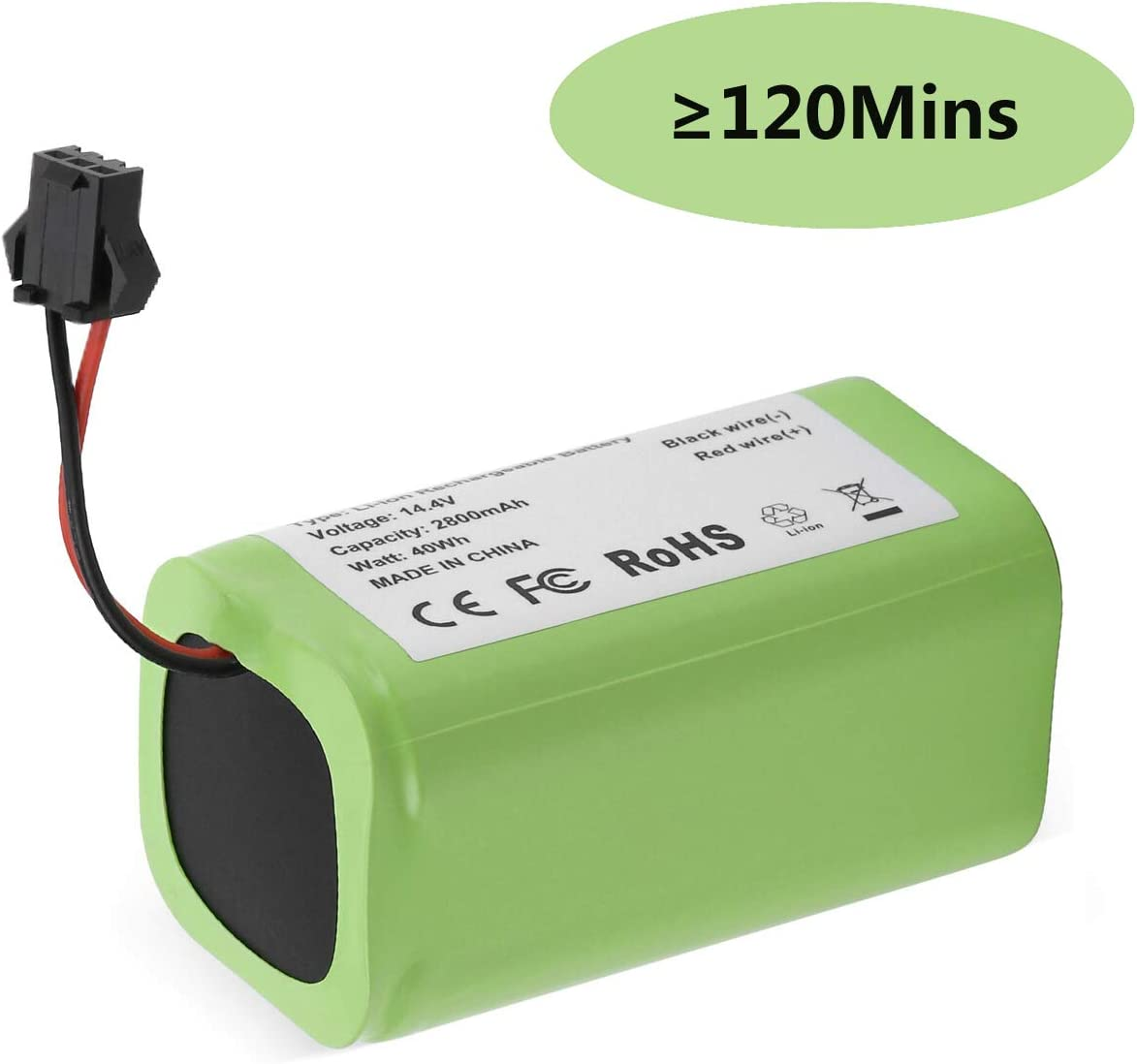 FirstPower 14.4v 2800mAh Replacement Battery - Compatible with Ecovacs Deebot N79 N79S DN622 & Eufy RoboVac 11, 11S, 11S MAX, 12, 15C, 15C MAX, 15T, 30, 30C, 30 MAX, 35C - Cleaned ≥120 Mins
