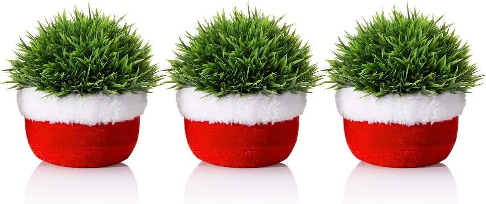 Opps Mini Artificial Plastic Green Grass Plants with Christmas Design – Set of 3