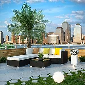 Innovate 5 Piece Outdoor Patio Sofa Set, Espresso White