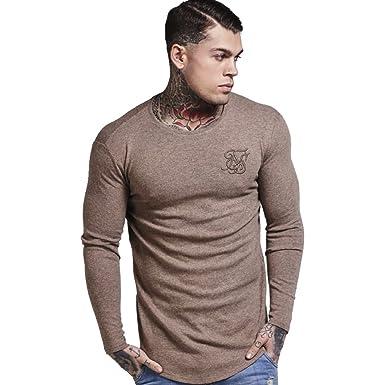 Shirt À Beige Homme T Siksilk Sable Manches Longues 5Ljc4Rq3A
