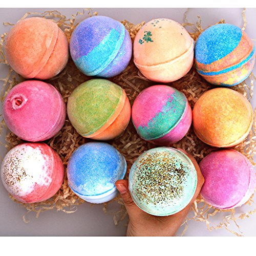 Bath Bomb Gift Set 12 Huge - 5Oz each - 100% Handmade with All Natural and Organic Ingredients - Perfect gift for her, mom, women, girl, girlfriend - Set Waters Blue Bath