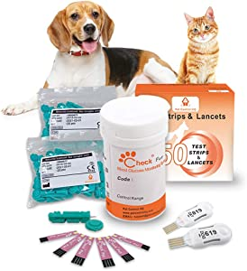 Pet Control HQ Dog & Cat Glucose Test Strips & Lancets (50 Each) Blood Sugar Glucometer System - Pet Diabetic Canine & Feline Insulin Monitoring - Fifty Test Set (Tester Device Not Included)