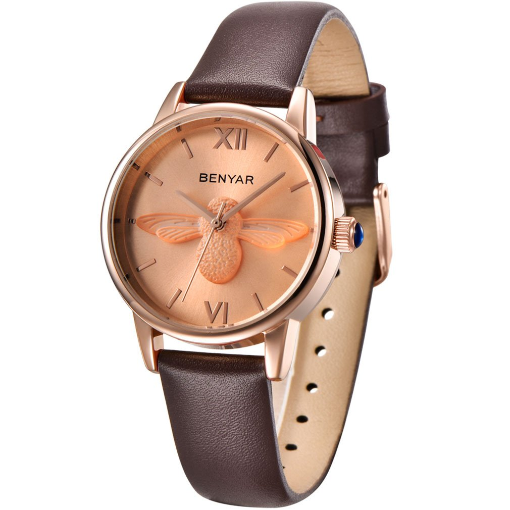 BENYAR Waterproof Cute Bee Ladies Watches Leather Strap Business Casual Wrist Watch for Women (Brown Rose Gold)