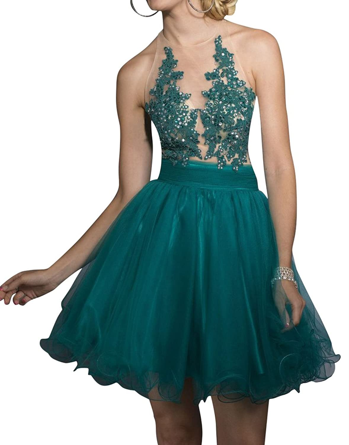 Fanmu Short Halter Neck Sleeveless Lace Beading Prom Dress Homecoming Cocktail Dress