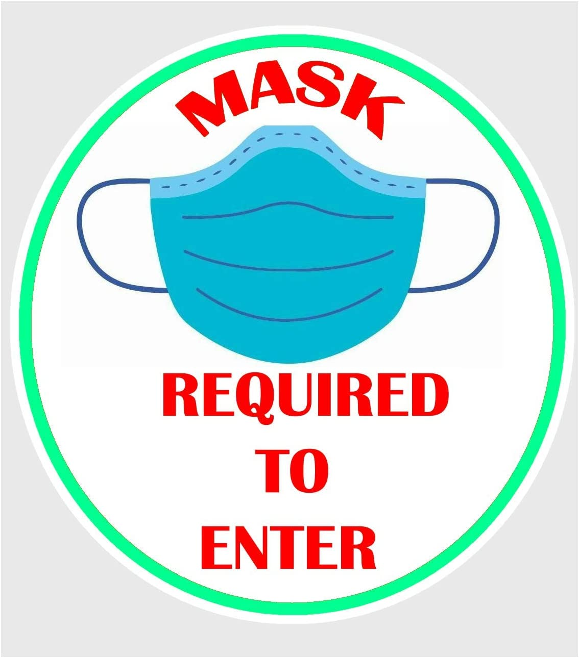 Face Mask Required to Enter Decal Sticker Pack of 4 Size 5 Inch Each