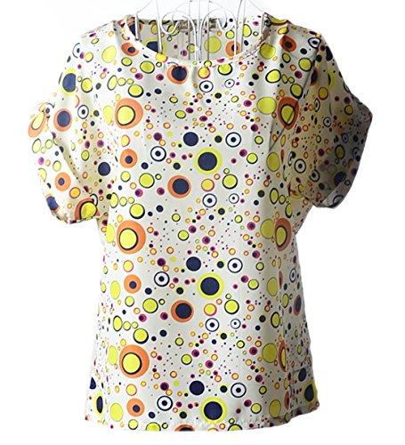 Modello Bluse Camicie Beige3 Chiffon Rotondo T Floreale Shirt Tops Blouse Donna Estivo Newlife Maglietta Corta Manica Collo Casual Moda 5R0qXFnw