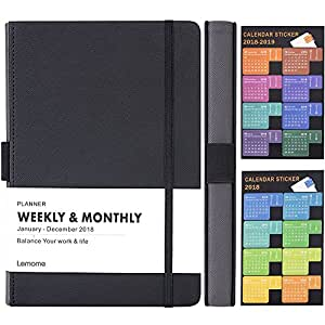 """Planner 2018 with Pen Loop -Academic Weekly, Monthly and Yearly Planner. Thick Paper to Achieve Your Goals & Improve Productivity, 5.75"""" x 8.25"""", Inner Pocket with 58 Bonus Notes Pages - lemome"""