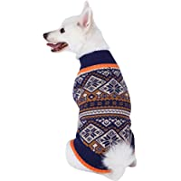 "Blueberry Pet 2 Patterns Nordic Pattern Inspired Fair Isle Black and White Snowflakes Dog Sweater, Back Length 16"", Pack of 1 Clothes for Dogs"