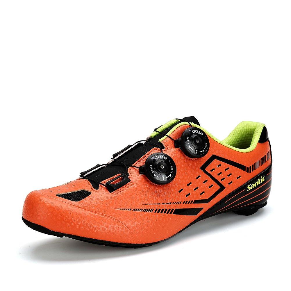 【サンティック】Santic メンズ ビンディングシューズ カーボンソール 超軽量 ロードバイク シューズ SPD-SL 2A B01KHJCBFA 39 (インソールの長さ25.1CM)2A オレンジ