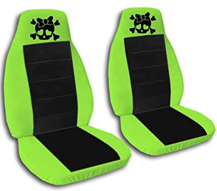 Terrific Amazon Com 2 Lime Green And Black Girly Skull Seat Covers Gmtry Best Dining Table And Chair Ideas Images Gmtryco