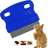 Dr.Luck Dog Cat Pet Lice &Flea & Nit Removal Comb/Brush, precision spaced stainless steel teeth locked into sturdy plastic handle for easy cleaning