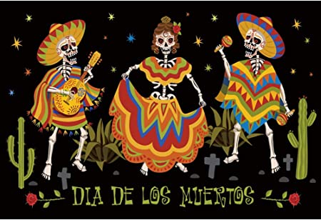 CSFOTO 5x5ft Day of The Dead Backdrop Mexican Fiesta Dia DE Los Muertos Party Sugar Skull Cactus Skeleton Dancing Background for Photography Dress Up Birthday Party Banner Vinyl Wallpaper