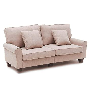 Admirable 2 Seat Sofa Bed Fabric Sofa Settee Couch Living Room Furniture Dark Brown Light Brown Cjindustries Chair Design For Home Cjindustriesco