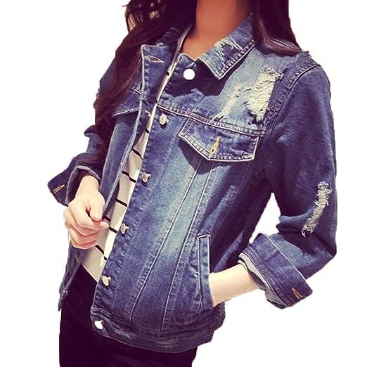 715ee7beaa2 Women Jackets Korean Loose Slim Stylish Wash Old Denim Buttons Long Sleeve  Coat with Pockets at Amazon Women's Coats Shop