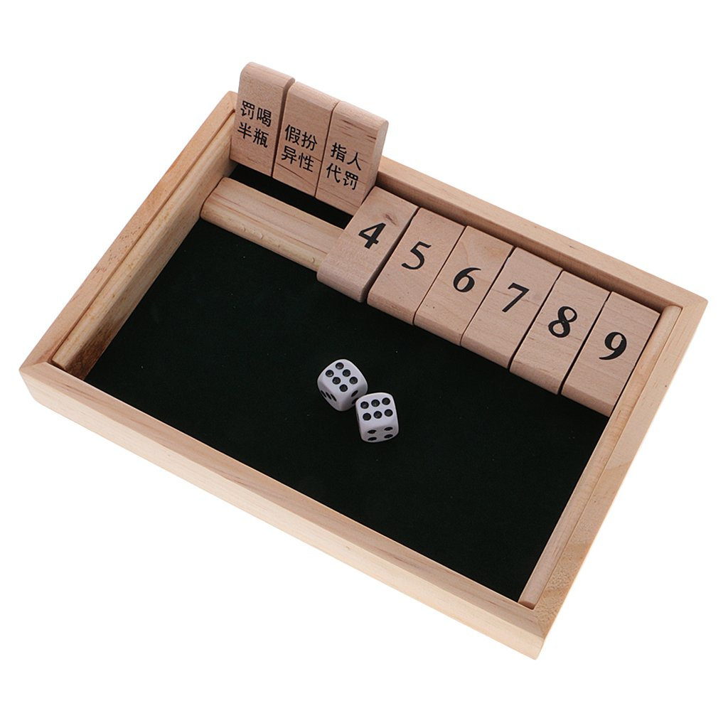 Dovewill Wooden Number Drinking Game Board Game Shut the Box Set with Dices Adult Party Bar Wine Game Supplies Puzzle Game Kids Gift