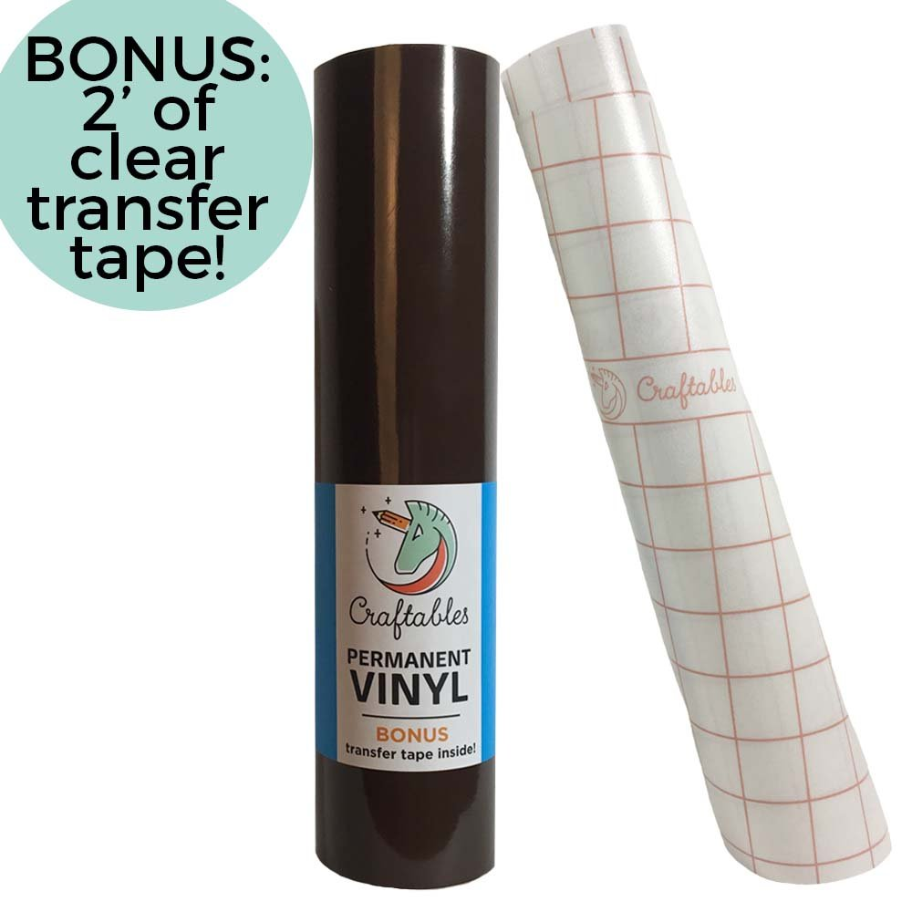 Craftables White Vinyl Roll - Permanent, Adhesive, Glossy & Waterproof | 12 x 10' | w/Premium Clear Transfer Tape - for Crafts, Cricut, Silhouette, Expressions, Cameo, Decal, Signs, Stickers