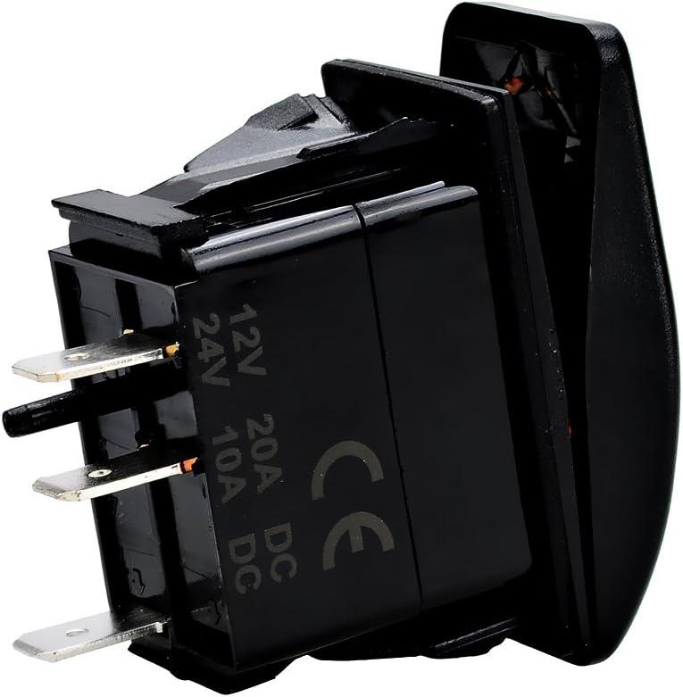 HOTSYSTEM 12V 20A Waterproof ON//Off LED Lights Rocker Switch SPST for Marine Boat Car 3-pin Red