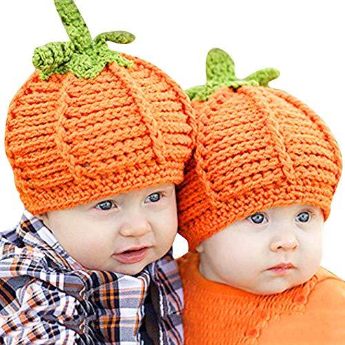 Tronet Halloween Baby Hat,Newborn Boys Girls Pumpkin Cap Knit Hat Headwear,Costume Photography Prop (Orange, 0-6 Mouth Baby) -