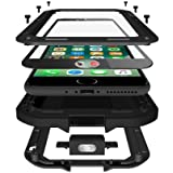 CarterLily iPhone SE 2020 Case, iPhone 7/8 Case, Full Body Shockproof Dustproof Waterproof Aluminum Alloy Metal Gorilla Glass Cover Case for Apple iPhone SE 2020 iPhone 7/8 4.7 inch - Black