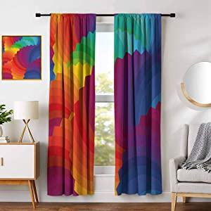 DONEECKL Colorful Blackout Window Curtains Modern Gradient Dash Sea Shell Inspired Wavy Dimension Palette Stripes Artisan Print Living Room Decor Blackout Shades W42 x L63 Inch Multicolor