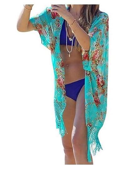 TININNA Vestido de Playa Blusa de Borla de Bikini Traje de Baño Escote Camiseta Top de