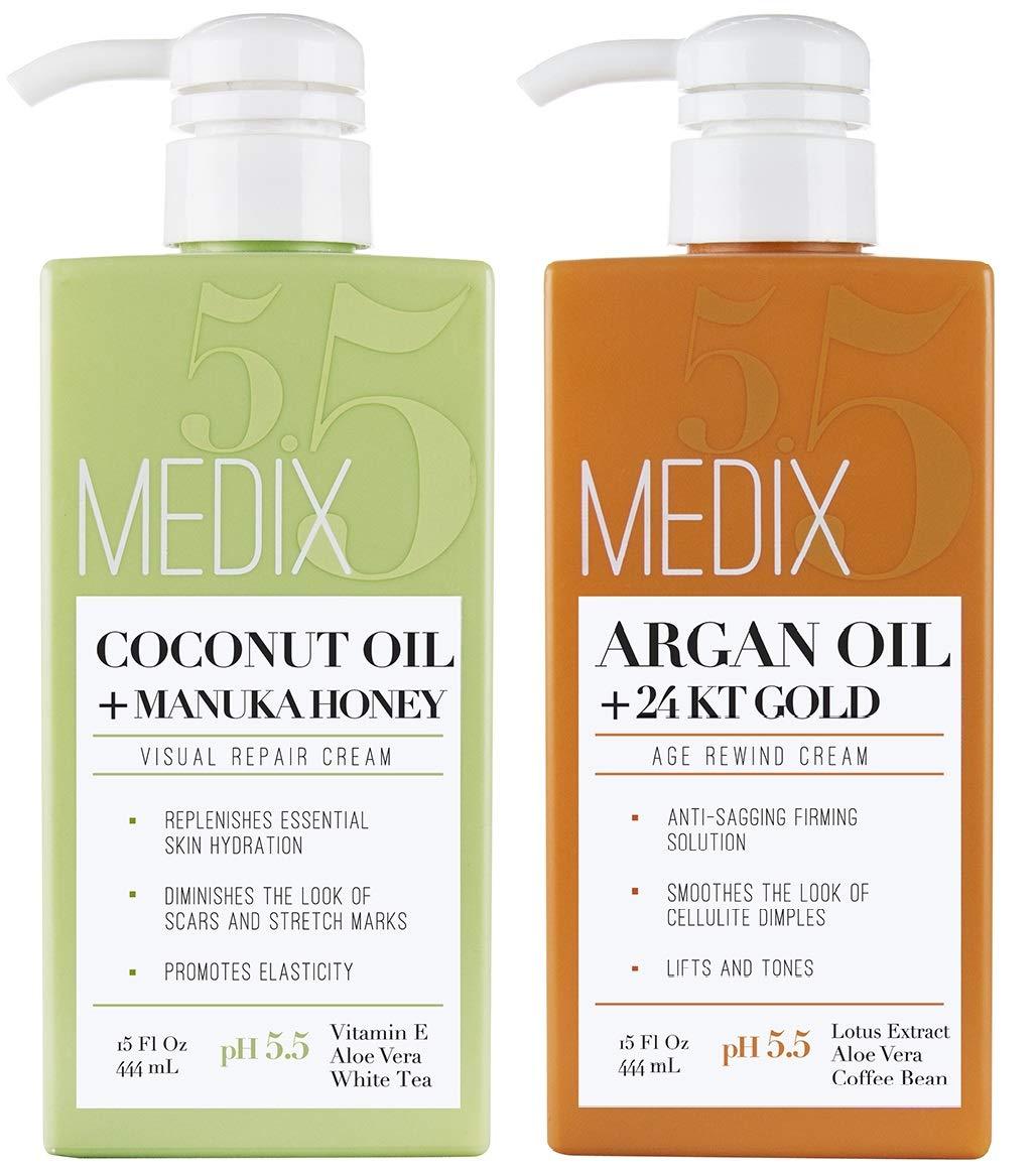 Medix 5.5 Argan Cream and Coconut Cream Set. Medix 5.5 Argan Cream with 24kt Gold Reduces Wrinkles and Firms Sagging Skin. Coconut Cream Moisturizes Damaged, Dry Skin. Two 15oz