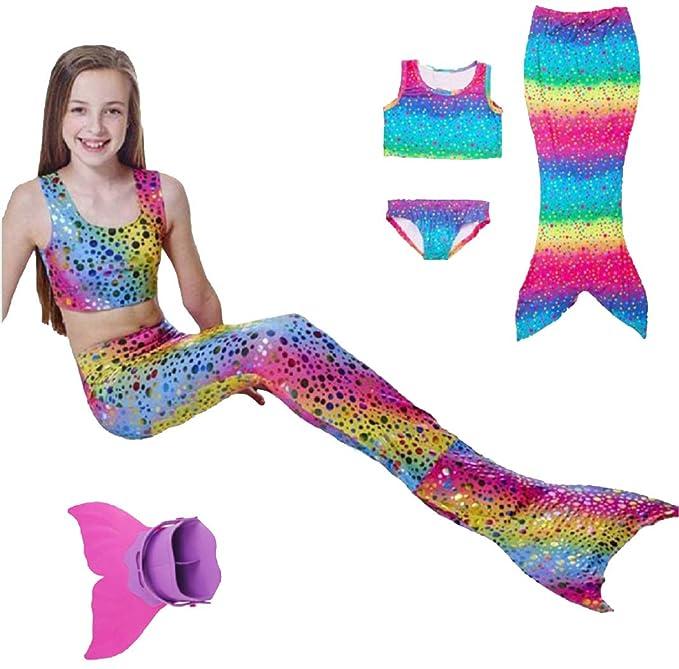PZJ Niñas Traje de Baño Arcoiris Cola de Sirena Bikini ...