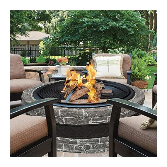 """Sun Joe SJFP28-STN-CS  Fire Joe 28"""" Charcoal Gray Fire Pit - Ideal outdoor centerpiece for warmth and enjoyment Durable cast stone base adds a sophisticated touch to any outdoor décor Large 28 in. (73.8 cm) fire bowl accommodates hardwood logs up to 21.5 in. (54.6 cm) long - patio, outdoor-decor, fire-pits-outdoor-fireplaces - 61ESuhXhGXL. SS570  -"""