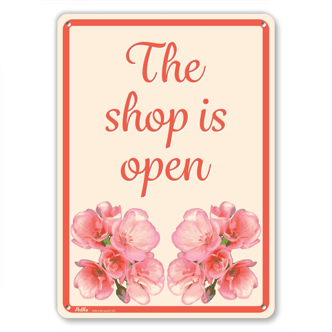 Red Flowers on Cream 7 x 10 PetKa Signs and Graphics PKFW-0097-NA/_7x10The shop is open Aluminum Sign