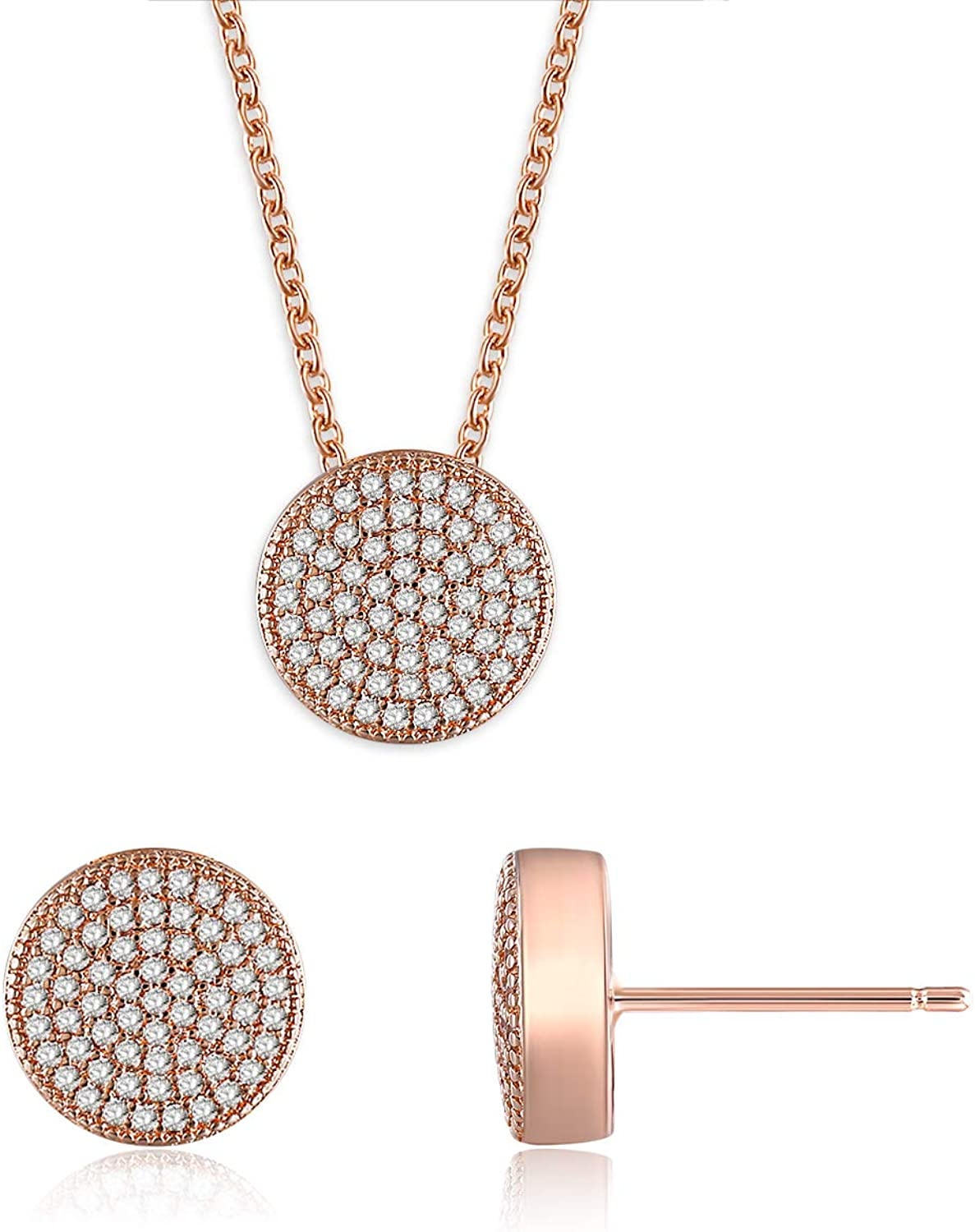 Rose Gold Jewelry Set 5A...