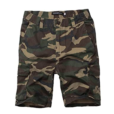 b072fbda66 ZFADDS Men Camouflage Beach Shorts Army Camo Military Work Cargo Shorts  Short Workout Trousers Army Green