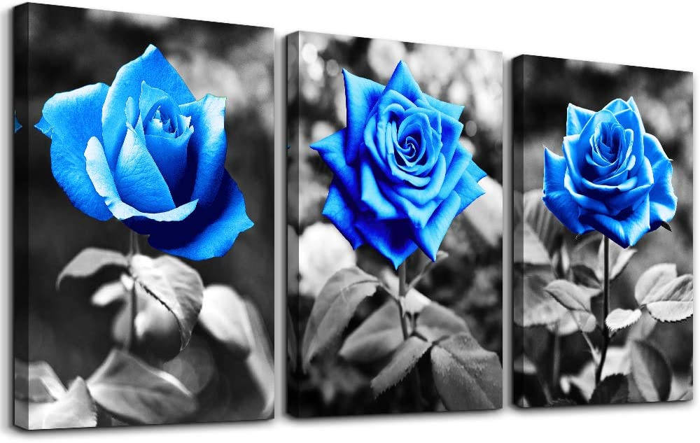 "bedroom Wall Art for living room bathroom Wall Decor for kitchen family pictures artwork Black and white Blue rose flowers Canvas paintings 12"" x 16"" 3 Pieces framed Modern office Home decorations"