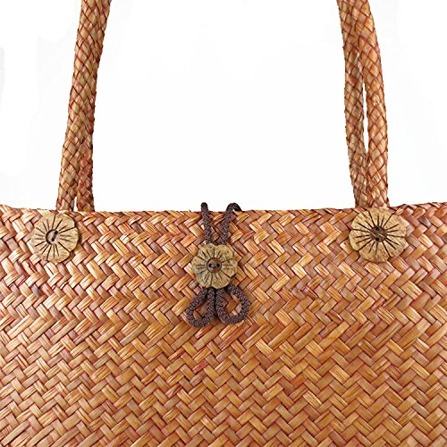 Straw Woven Handbag Meaeo Beach Bamboo Bag SP71xF0