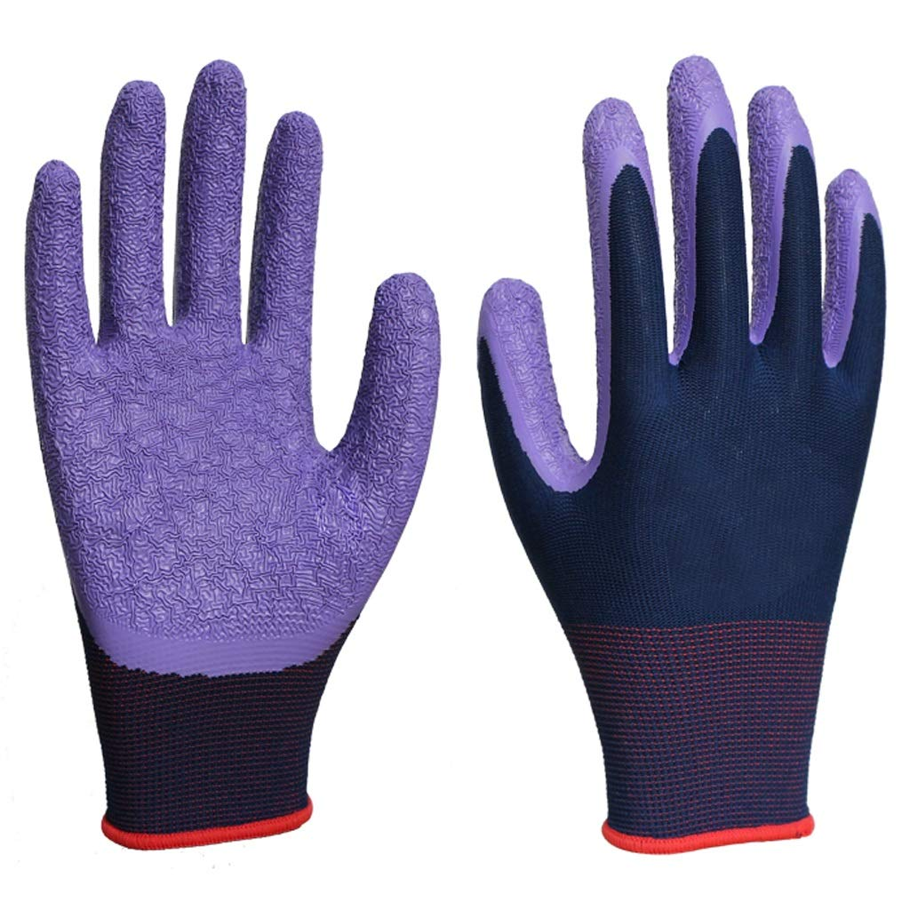 LZRZBH Work Gloves,Knit Wrist Breathable Gardening Gloves,Nylon Latex Wrinkle Coated Industrial Gloves,Protective,Wear Resistant Slip[Purple,12 Pairs Per Pack]