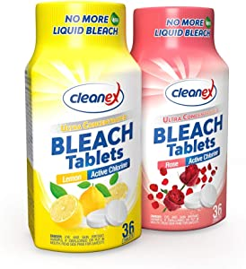 Cleanex Bleach Tablets, New Advanced Formula Ultra Concentrated Water-Soluble Bleach Tablets for Laundry and Multipurpose Cleaning 36 Tablets No Phosphate NO MORE LIQUID BLEACH! (Lemon & Rose 2 Packs)