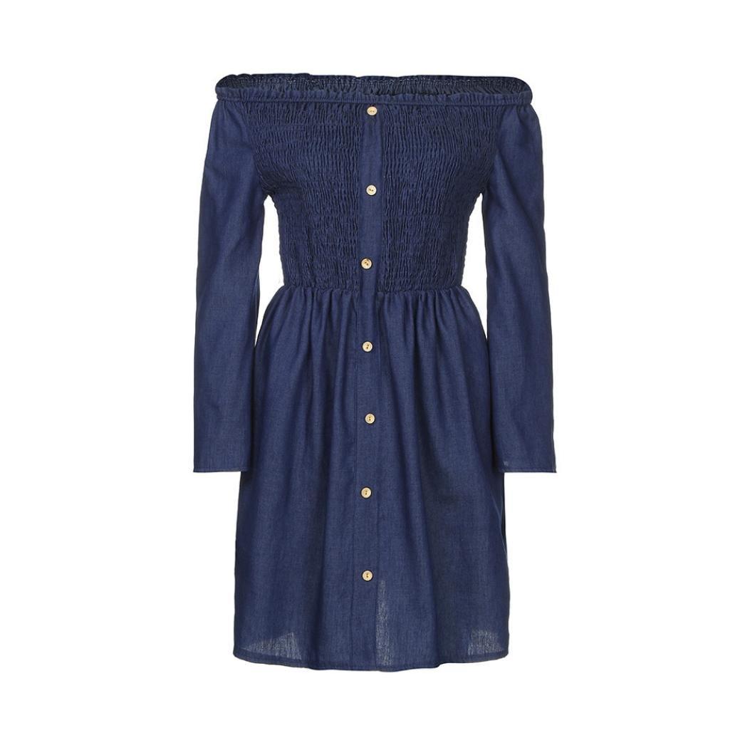 GOTD Women Off Shoulder Ruffle Button Strap Belt Long Sleeve Denim Mini Shirt Dress Summer (S, Blue) by GOTD