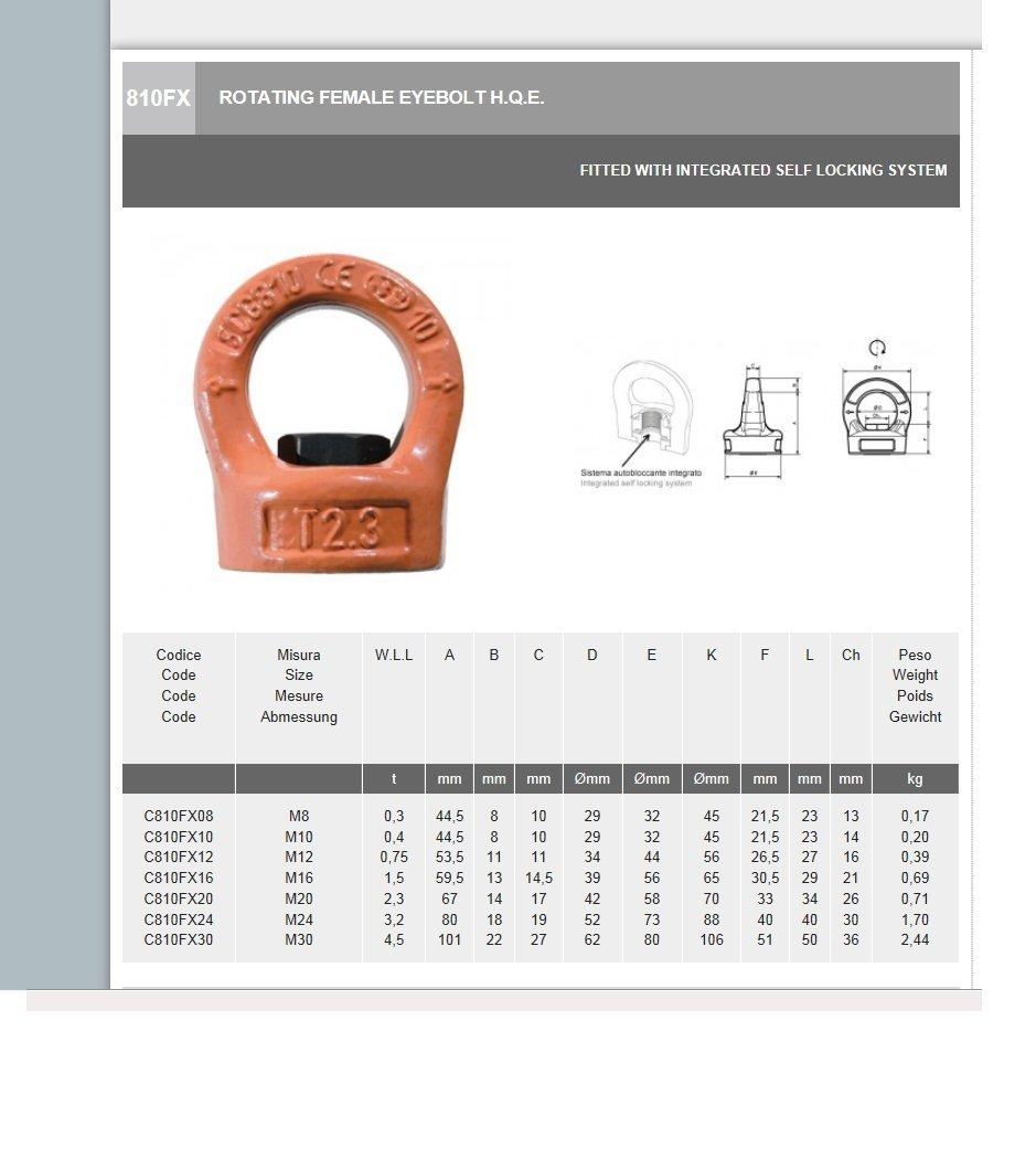 M16 Thread All Material Handling C810FX16 Swivel Eye Nut 1.5 Tons Grade 100 4.0 Height 4.0 Height 7008900