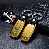 Zarsson Key Chain Flashlight, Windproof Flameless Cigarette Electronic USB Lighter Electric with 2 Key Rings, Bright LED Light and Rechargeable USB for Gifts - 1PACK, Golden
