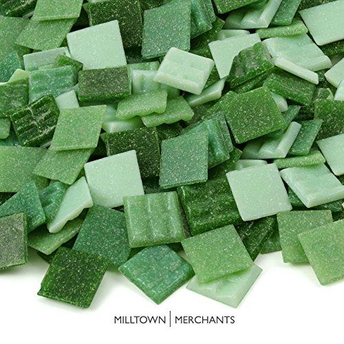 Milltown Merchants™ Green Mosaic Tiles - Bulk Mosaic Tile Assortment - 3/4 Inch (20mm) Mixed Colors Venetian Glass Tile - 7 Pound (112 oz) Craft and Backsplash Tile