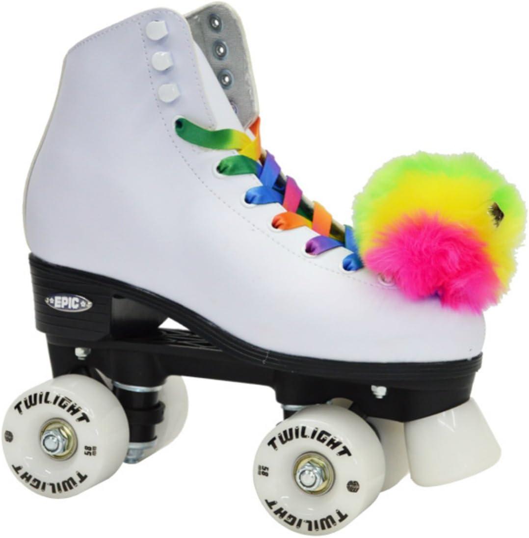 Adult 6 Epic Allure Twilight Rainbow LED Light Up High-Top Quad Roller Skate 3 Piece Bundle